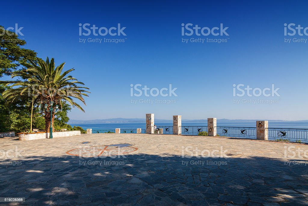 Sunny view of viewpoint of Kalithea village, Halkidiki, Greece. stock photo