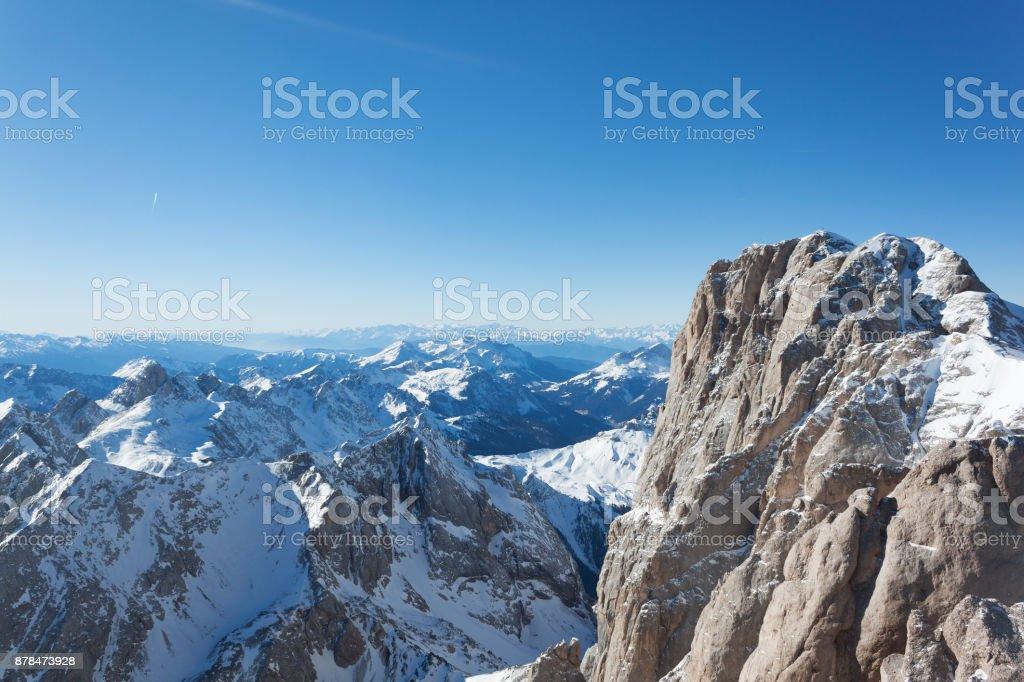 Sunny view. Ski resort and ski slopes in the winter season, Italy. The Dolomites Alps stock photo