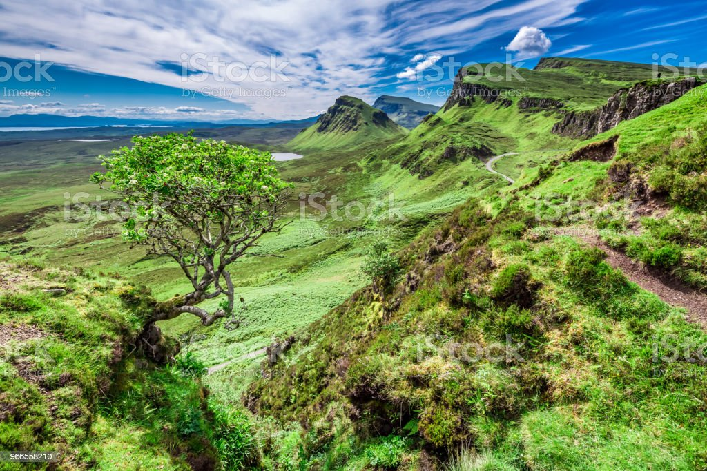 Sunny view to green valley in Quiraing, Scotland, UK stock photo