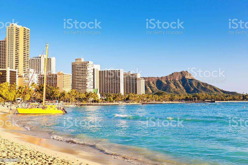 Sunny Waikiki Beach and Diamond Head of Honolulu Hawaii stock photo