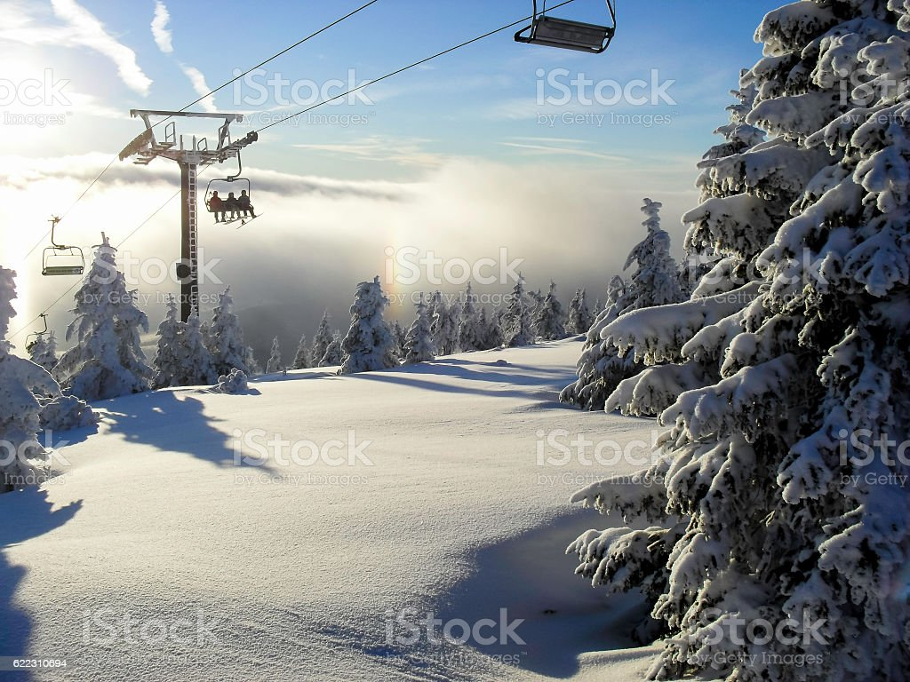 sunny weather in the land of ice stock photo