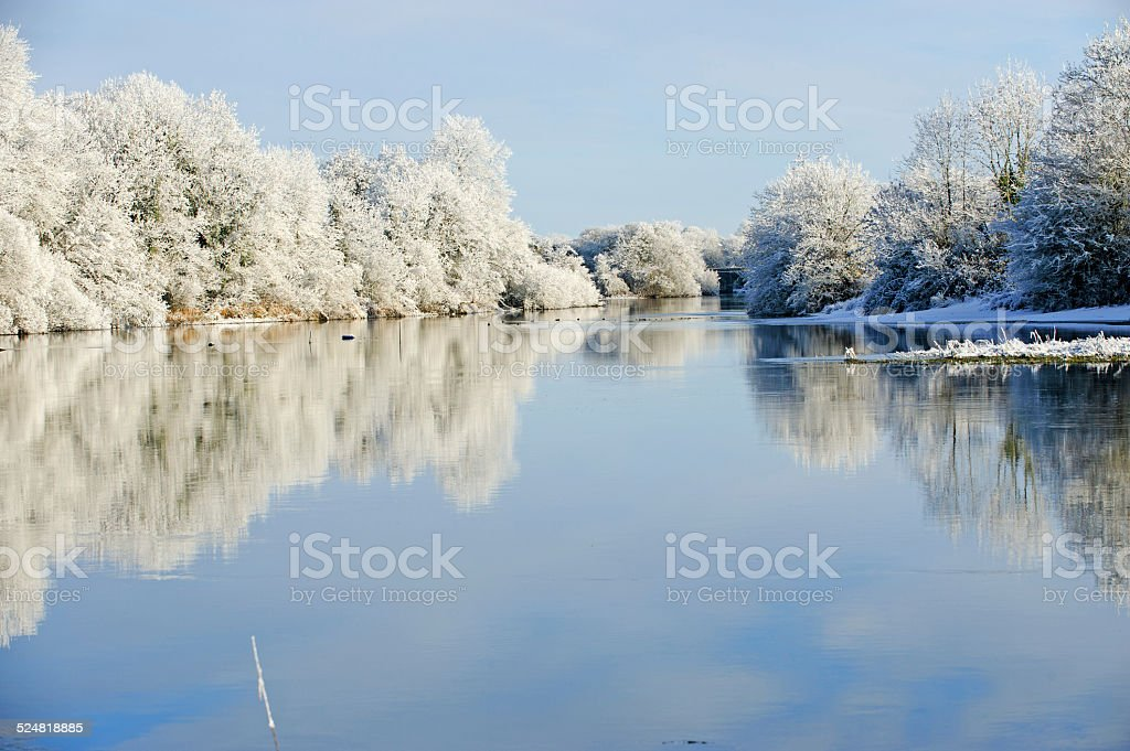 Sunny winter day on the river stock photo