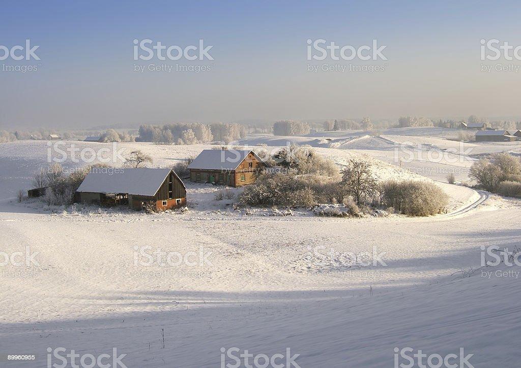 sunny winter farm royalty-free stock photo