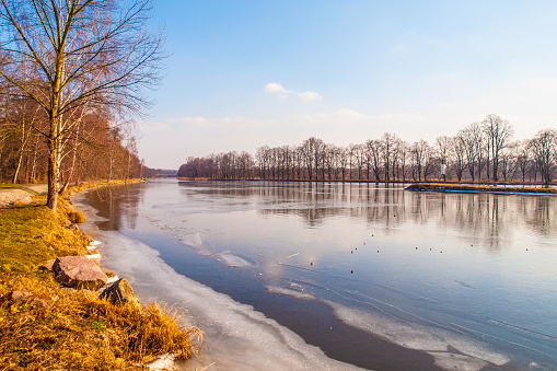 Sunny winter morning at frosty river. Elbe or Labe river