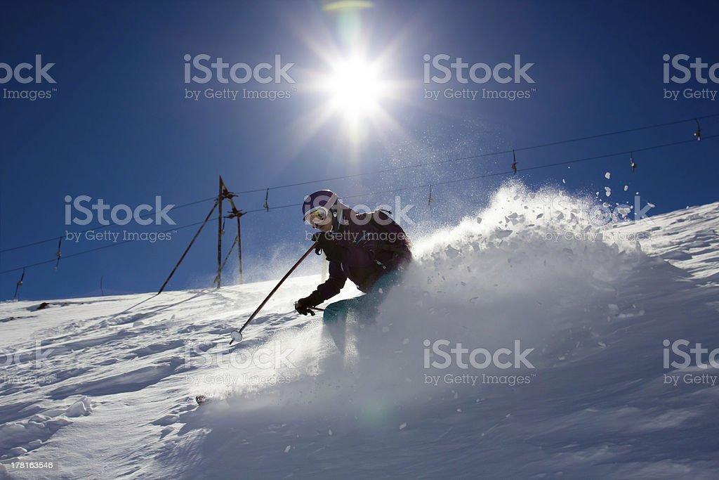 Sunny Woman Skier royalty-free stock photo