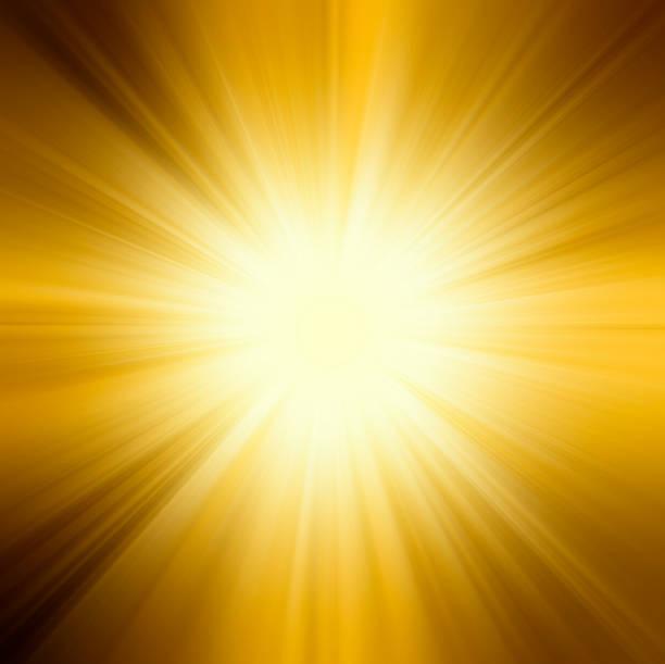 Sol, en colores naranja, amarillo y rayos de sol de fondo - foto de stock