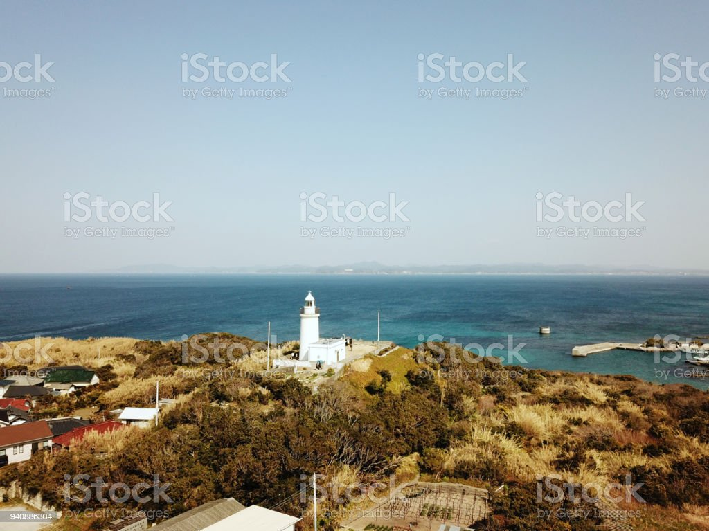 Sunosaki lighthouse in Boso Peninsula stock photo