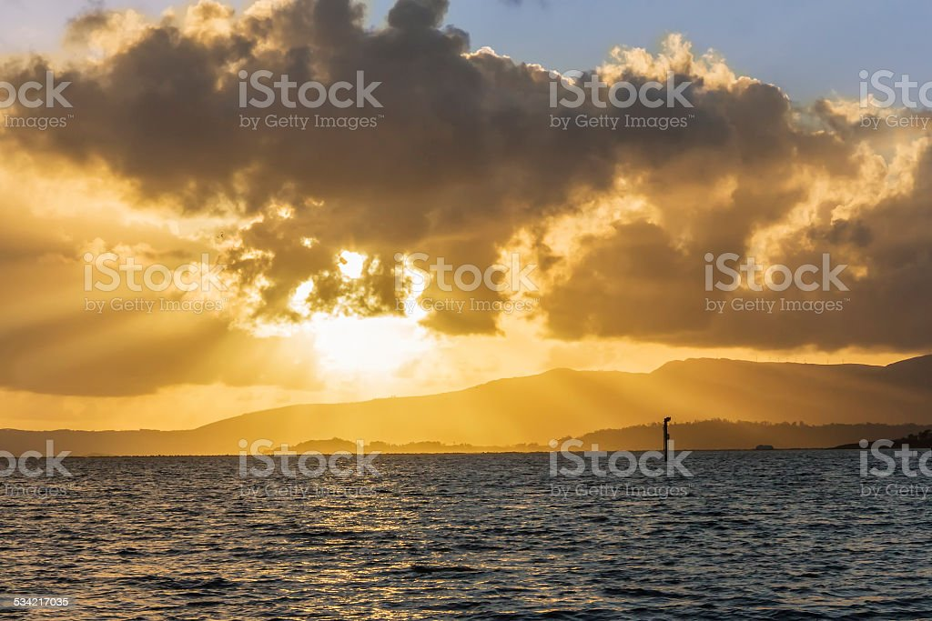Sunrays at sunset royalty-free stock photo