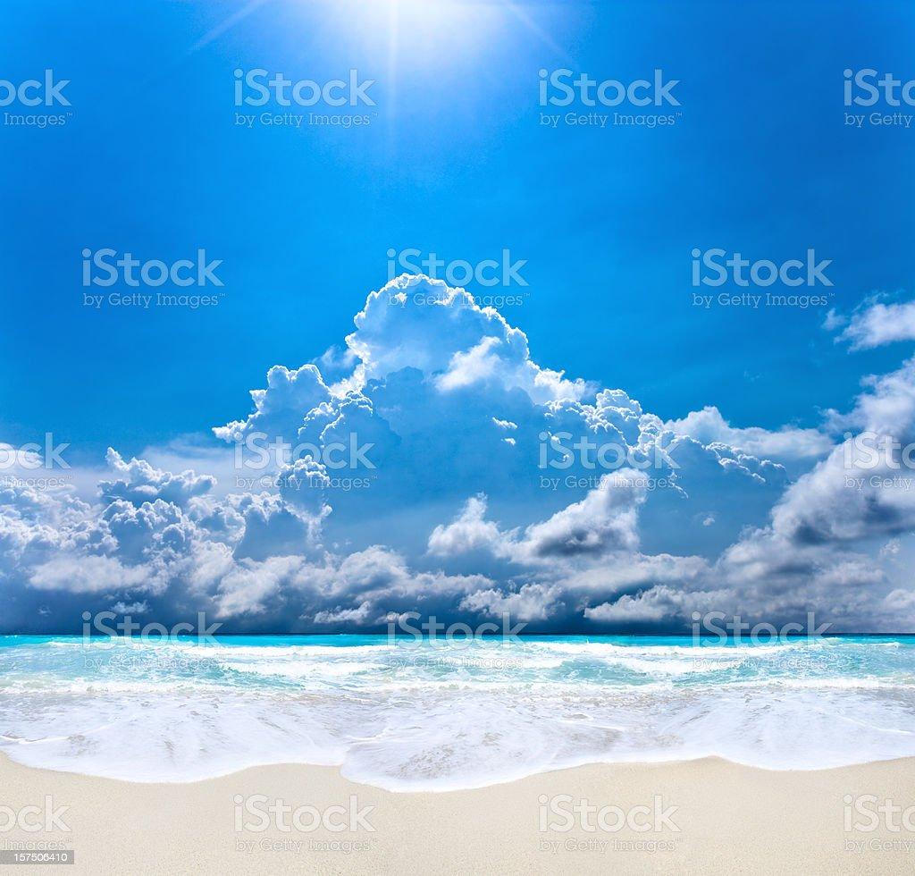 Sunrays on a beach royalty-free stock photo