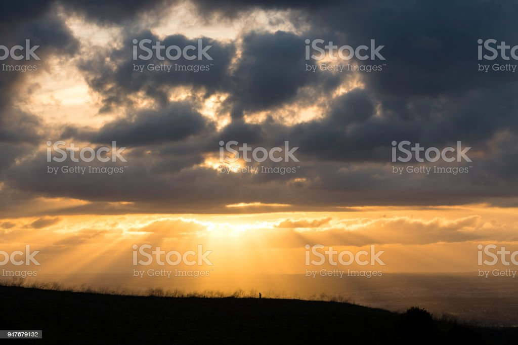 Sunrays over Los Angeles stock photo