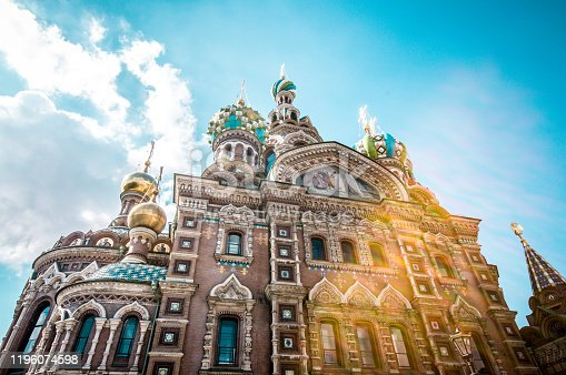 istock Sunrays Over Majestic Church of the Saviour on Spilled Blood, St. Petersburg 1196074598