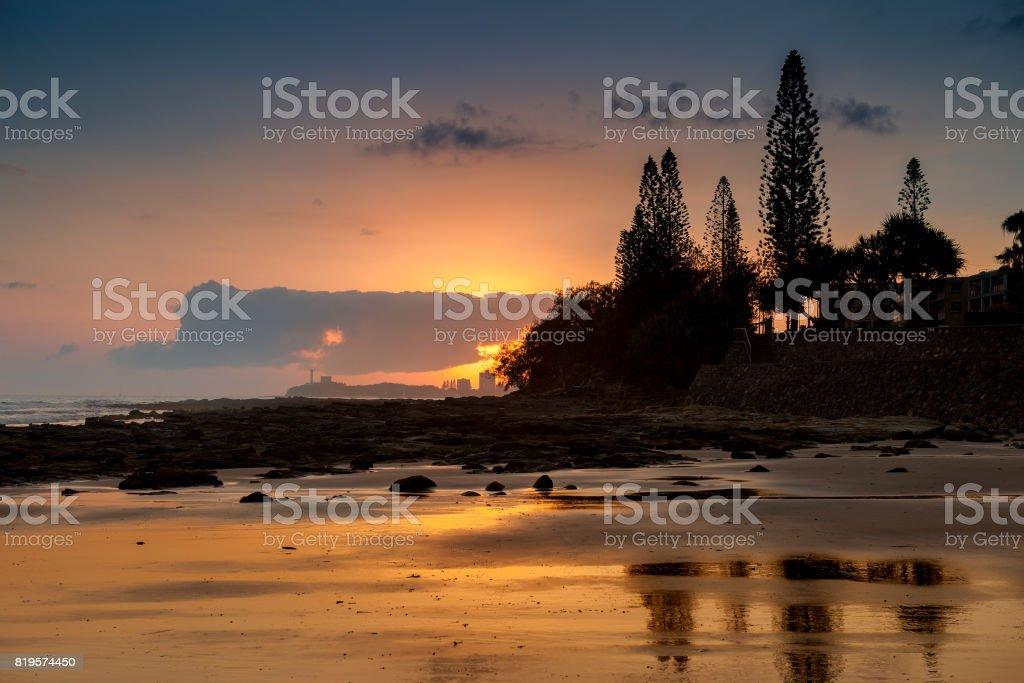 Sunrise a Alexandra Headland in Sunshine Coast stock photo