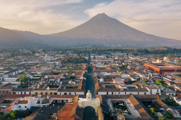 Sunrise above Antigua (Guatemala) stock photo