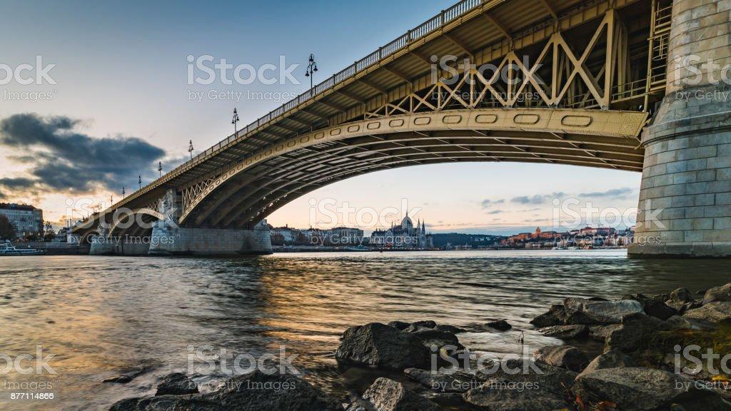 Sunrise above Budapest stock photo