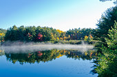 Sunrise above forest lake in Killarney park, Canada