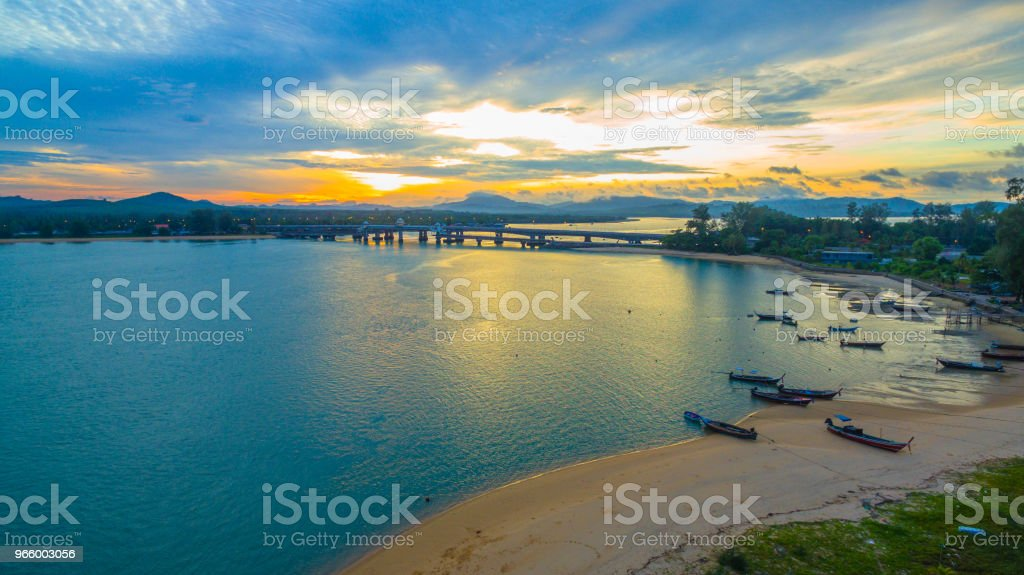 sunrise above Sarasin bridge conect Phuket and Pang Nga - Стоковые фото Архитектура роялти-фри