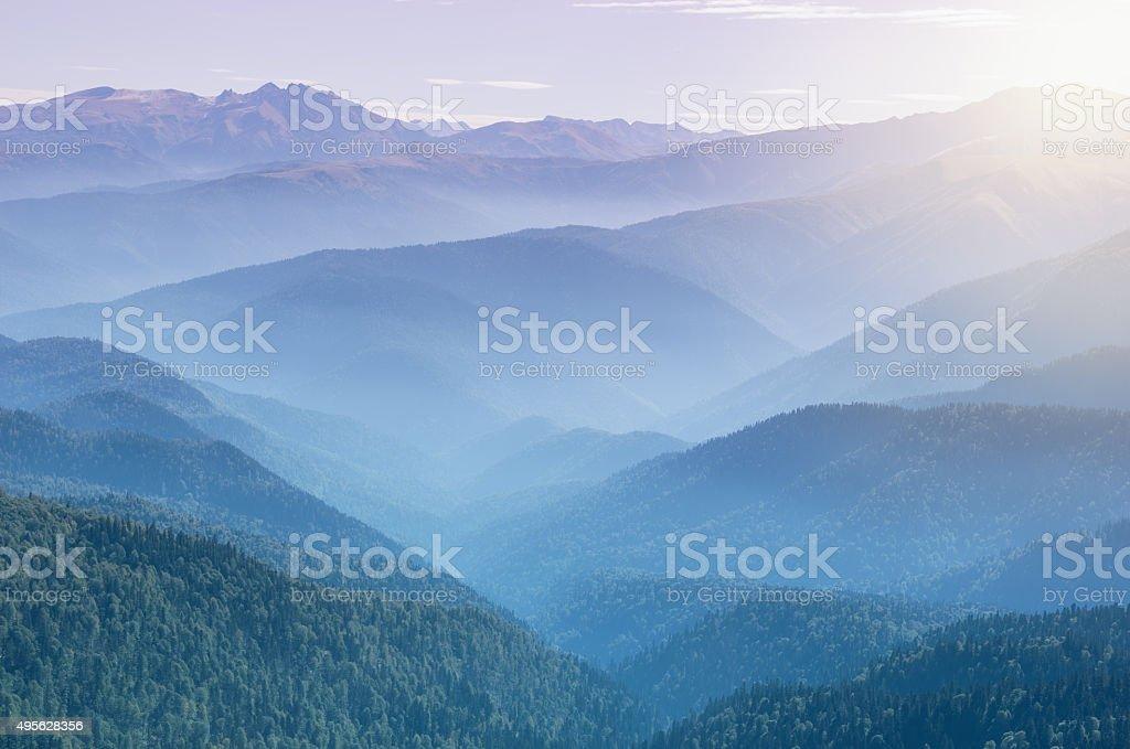Sunrise above the mountains. stock photo