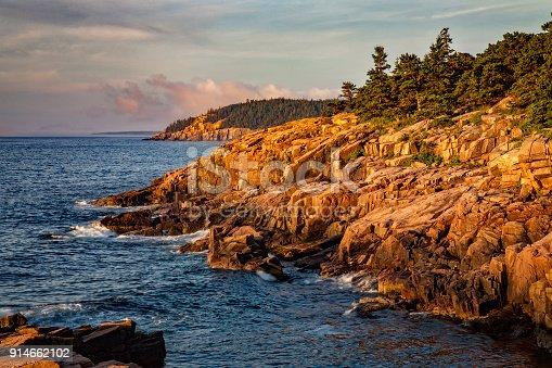 Sunrise along the Atlantic coast in Acadia National Park, Maine, USA