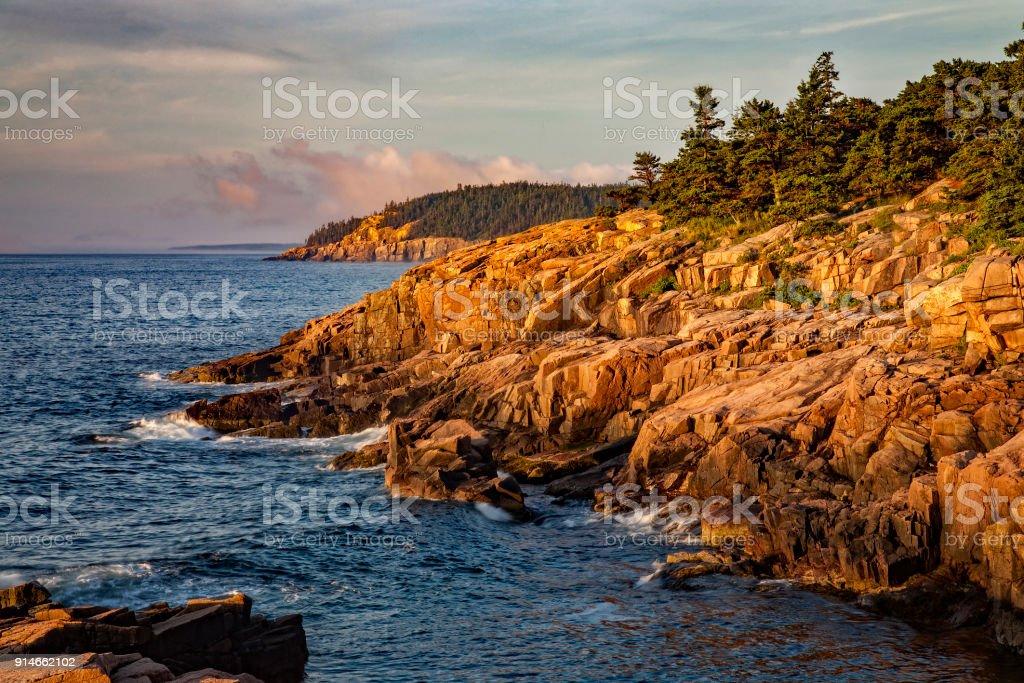 Sunrise, Acadia National Park, Maine, USA stock photo