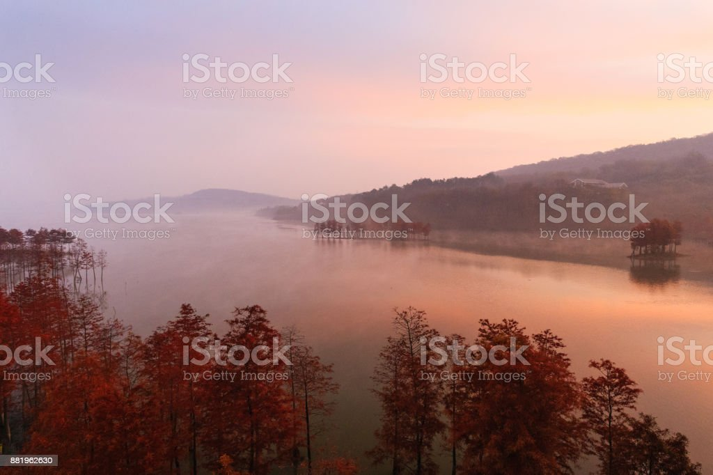 Sunrise Advection Fog of Tianquan Lake stock photo
