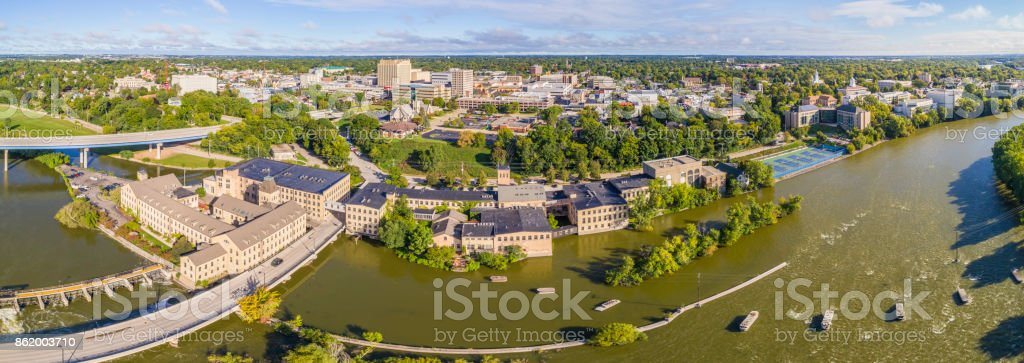 Sunrise aerial view of beautiful Appleton Wisconsin waterfront stock photo
