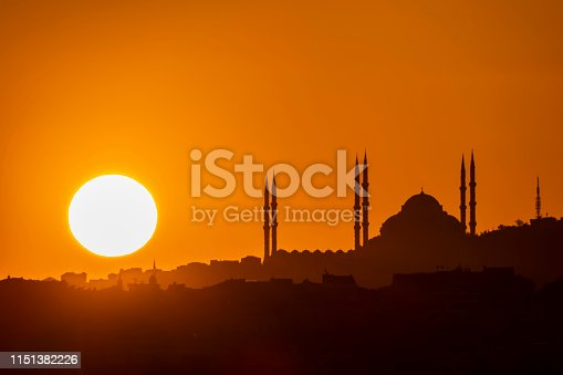 sunrise and city silhouette with mosque in istanbul