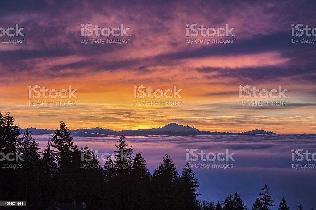 sunrise and cloudy sky stock photo