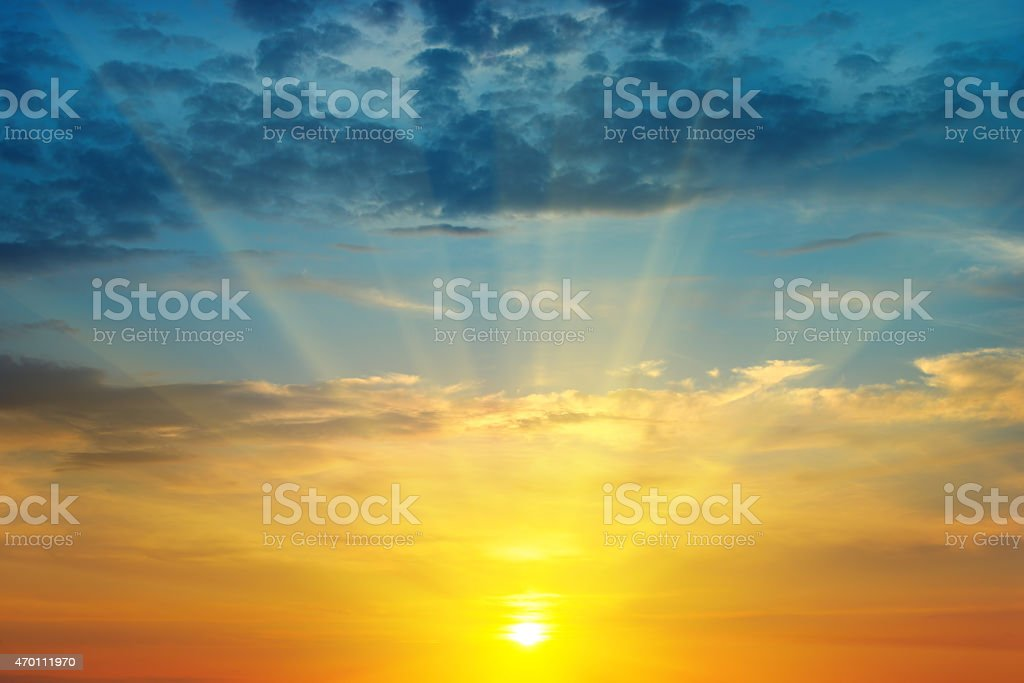 sunrise and cloudy sky stock photo