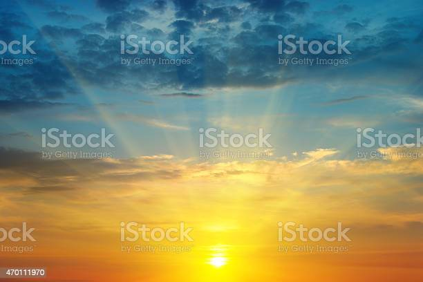 Sunrise And Cloudy Sky Stock Photo - Download Image Now