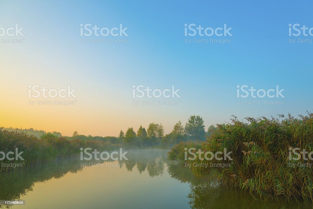 Sunrise and Fog Over the Pond royalty-free stock photo