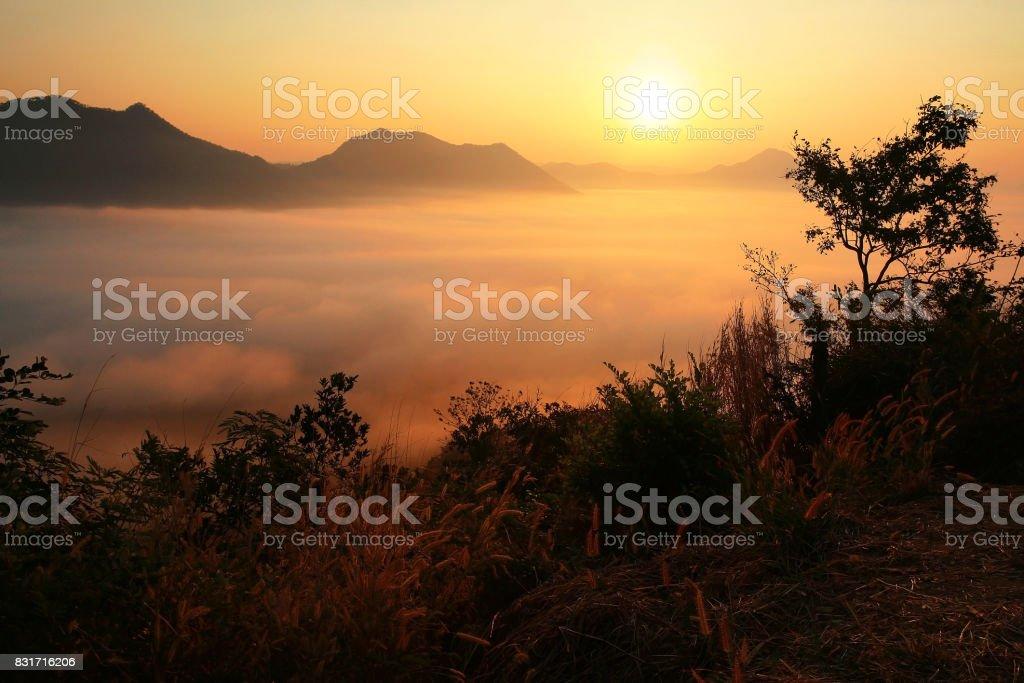Sunrise and Mist scenics at Phu Tok, Chiang Khan, Loei stock photo