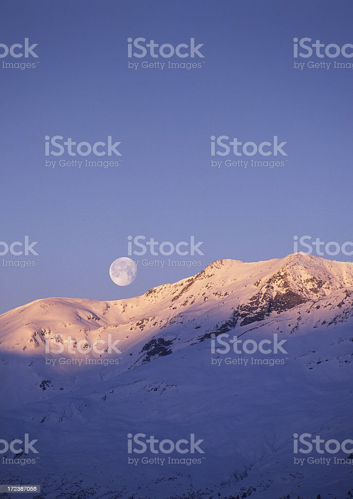 Sunrise and moonset (image size XXL) royalty-free stock photo