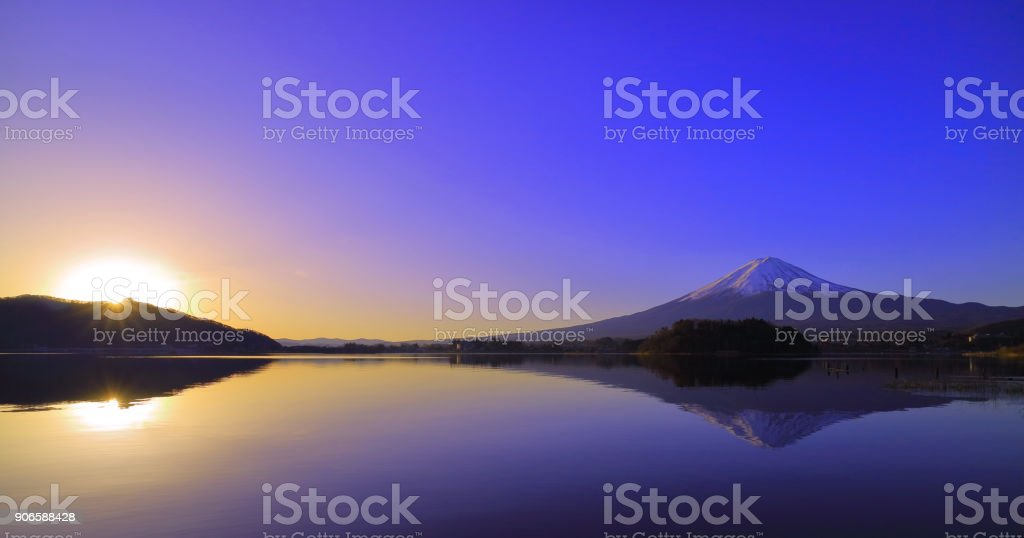 Sunrise and Mt. Fuji from Lake'kawaguchi'Japan stock photo