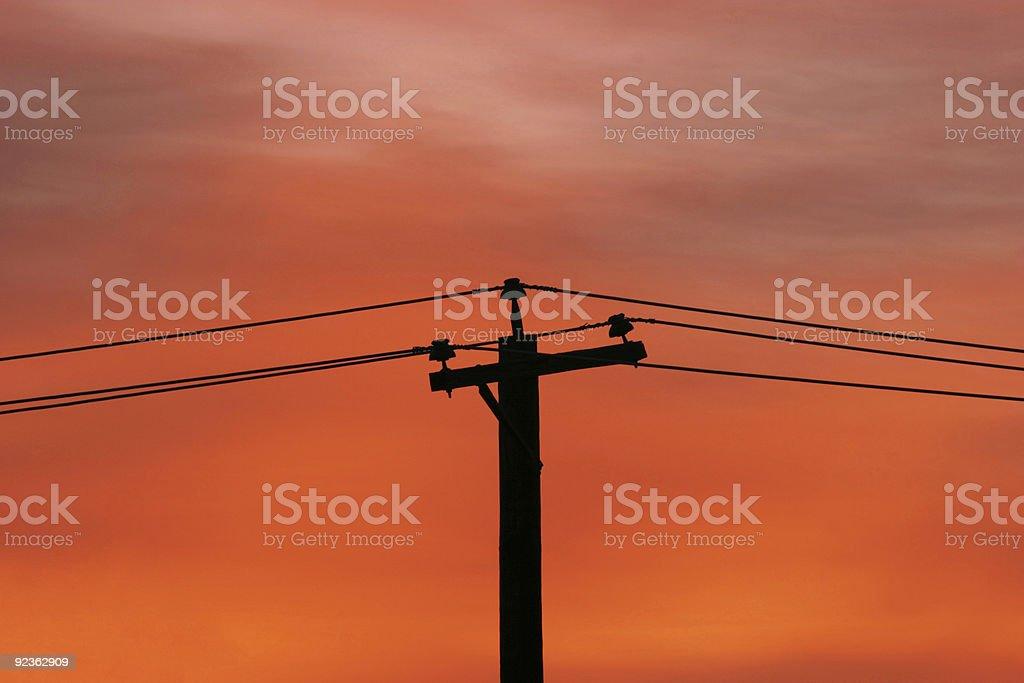 Sunrise und Power Lines Lizenzfreies stock-foto