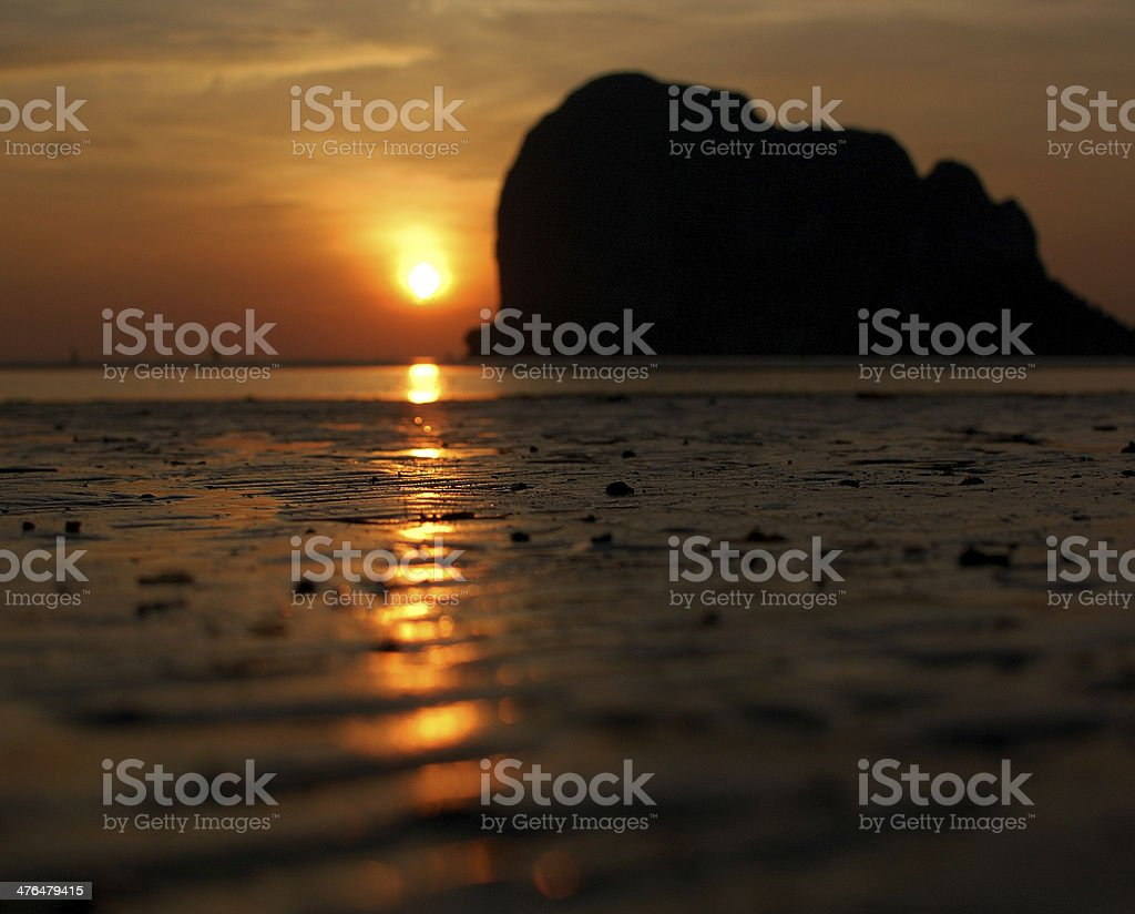 Sunrise and sand. royalty-free stock photo