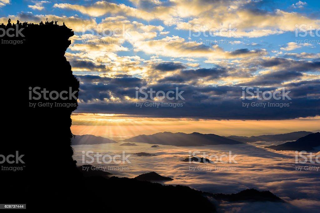 Sunrise and sea of mist at  phucheefa forest park stock photo