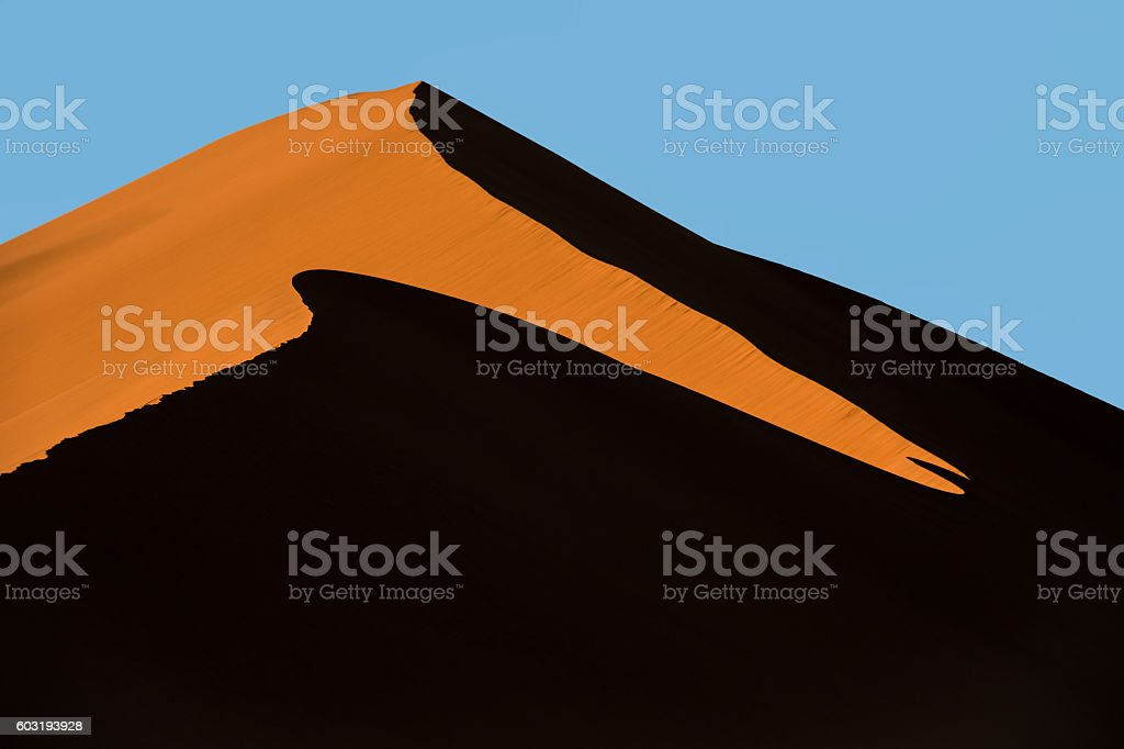 Sunrise and shadows on Big Daddy dune in Sossusvlei, Namibia stock photo
