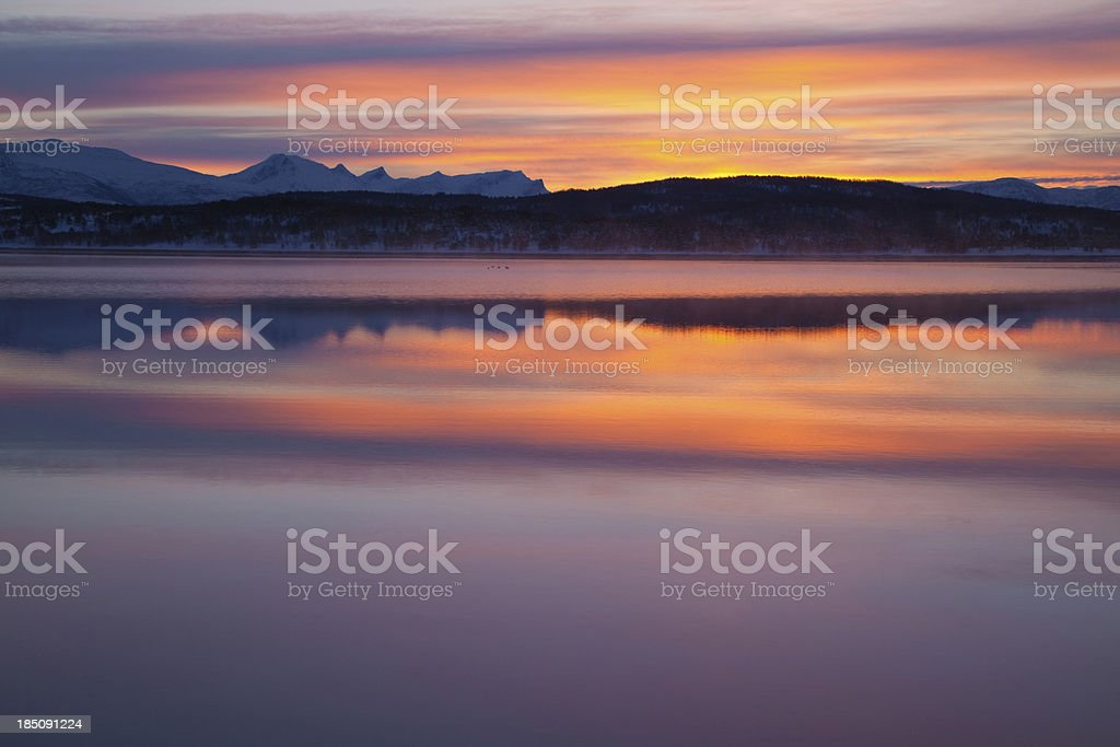 Sunrise at a fjord in Norway stock photo