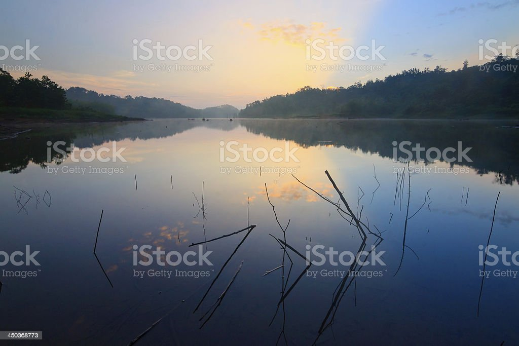 sunrise at a lake in Borneo, Sabah, Malaysia royalty-free stock photo