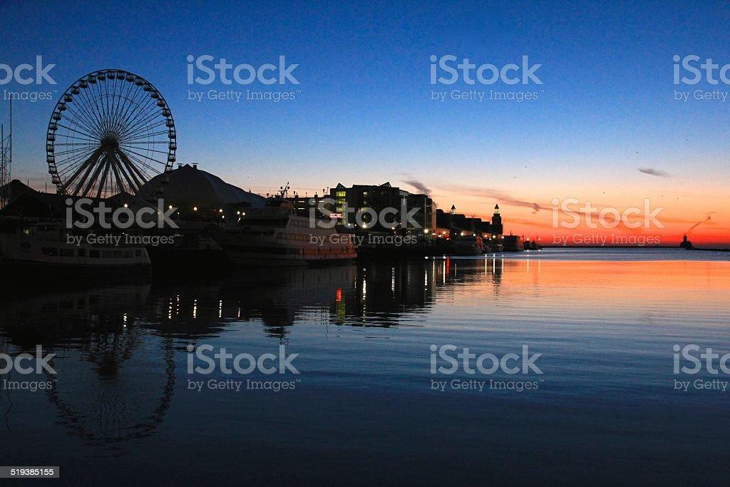 Sunrise at Amusement Park stock photo