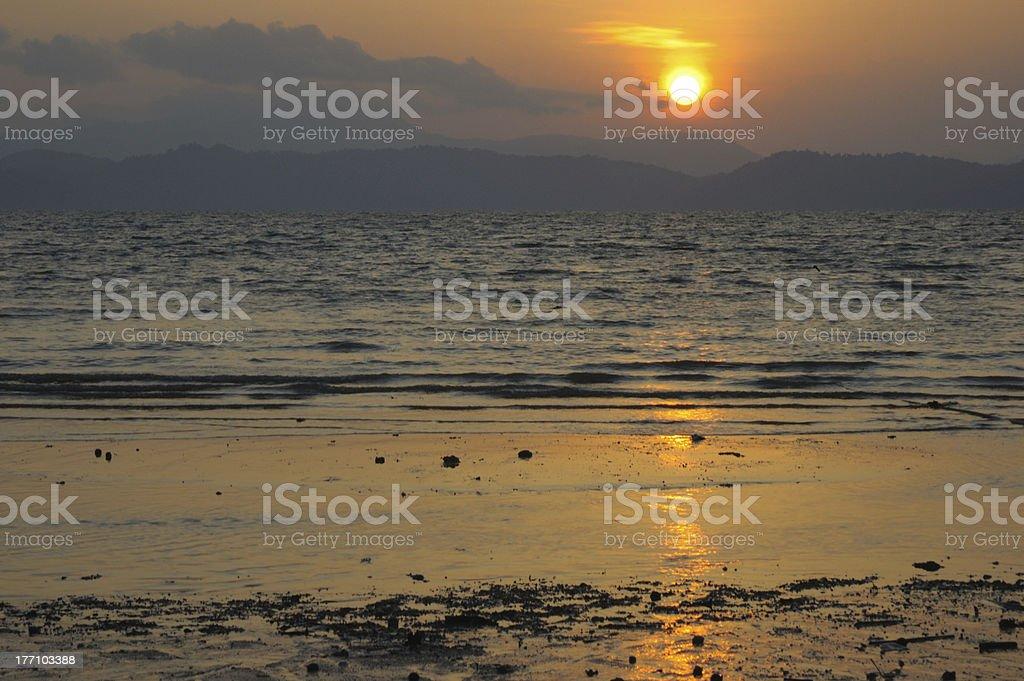 Sunrise at  Andaman Sea royalty-free stock photo