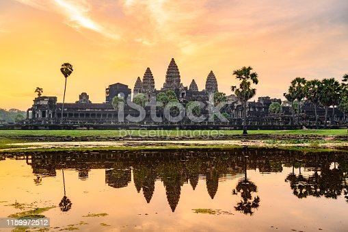 Sunrise at the Angkor Wat temple in Siem Reap, Cambodia.
