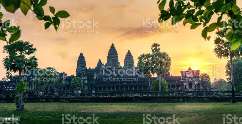 Sunrise at Angkor Wat temple in Siem Reap, Cambodia. stock photo