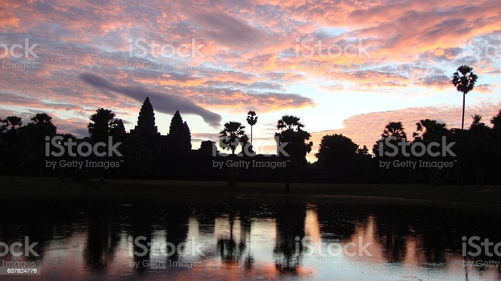 Sunrise at Angkor Wat Temple - Siem Reap, Cambodia, Camboya stock photo