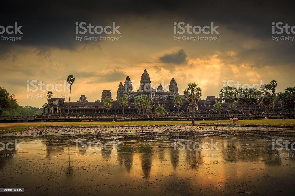 sunrise at Ankor Wat, Siem Reap, Cambodia stock photo