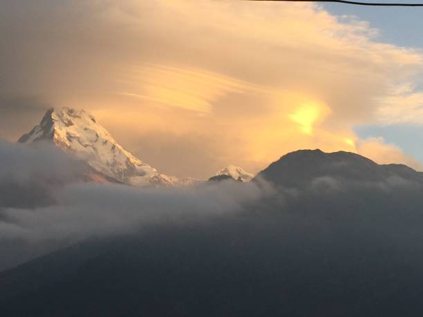 Sunrise at Annapurna stock photo