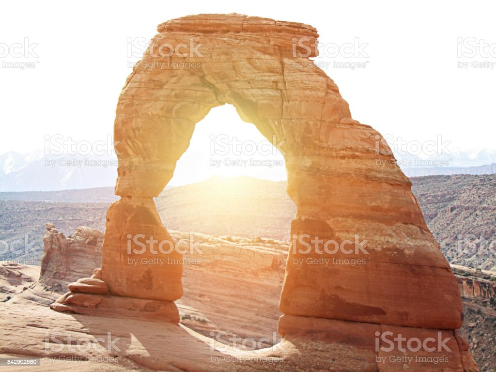 Sunrise at Arches National Park stock photo