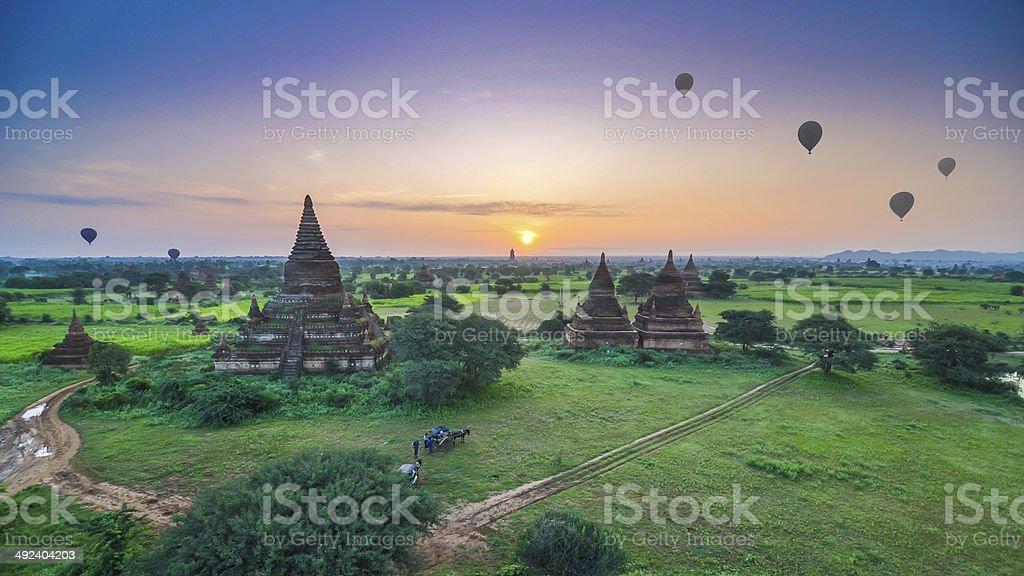 Sunrise at Bagan, Myanmar stock photo