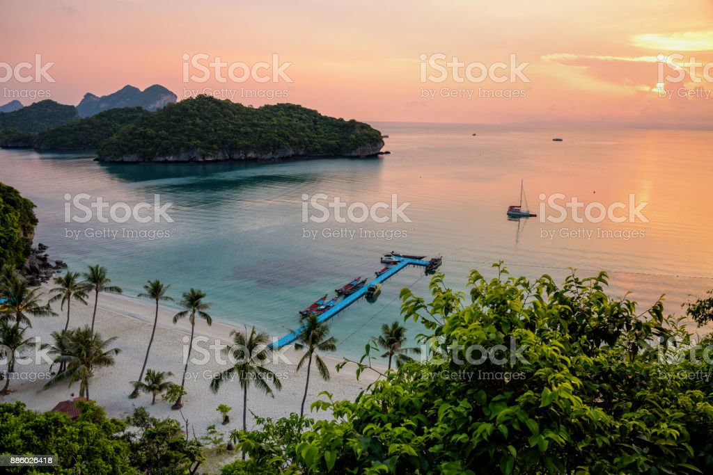 Sunrise at beach in Thailand stock photo
