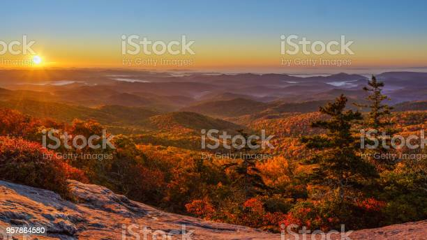 Photo of Sunrise at Beacon Heights Overlook Trail in Autumn off the Blue Ridge Parkway
